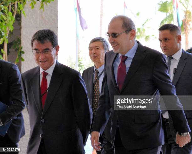 Japanese Foreign Minister Taro Kono is escorted by Jordani Foreign Minister Ayman Safadi prior to their meeting at the Foreign Ministry on September...