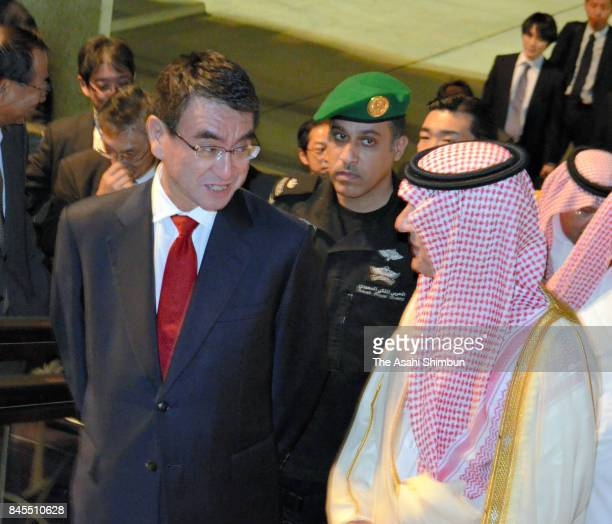 Japanese Foreign Minister Taro Kono is escorted by Saudi Arabian Foreign Minister Adel Ahmad AlJubeir prior to their meeting on September 10 2017 in...