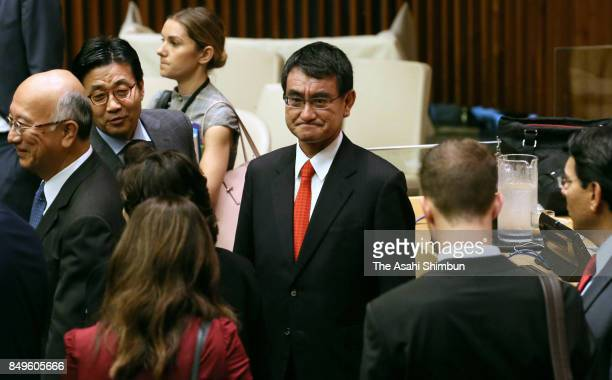 Japanese Foreign Minister Taro Kono is seen attending a general assembly meeting on the United Nations reform at the UN headquarters on September 18...