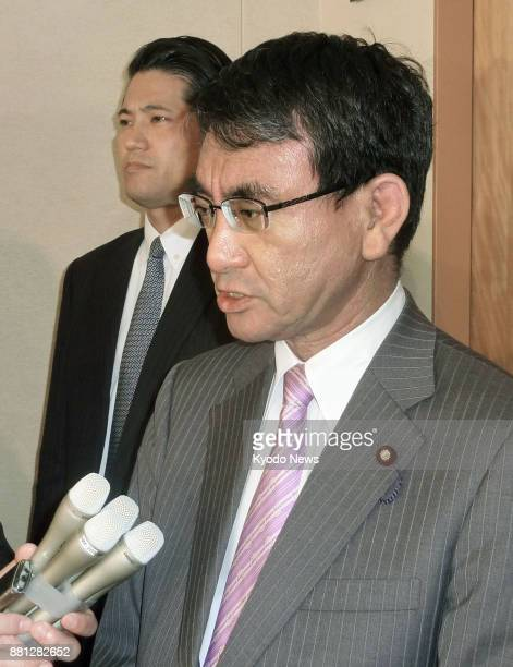 Japanese Foreign Minister Taro Kono speaks to reporters at the Foreign Ministry in Tokyo on Nov 29 2017 after North Korea launched a suspected...