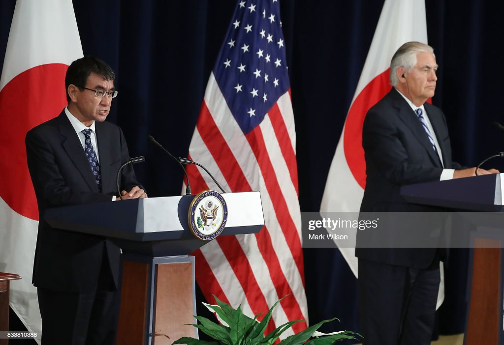 Japanese Foreign Minister Taro Kono (L) speaks while Secretary of State Rex Tillerson listens, after a meeting of the U.S.-Japan Security Consultative Committee at the State Department, on August 17, 2017 in Washington, DC.