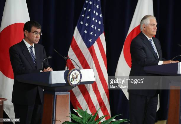 Japanese Foreign Minister Taro Kono speaks while Secretary of State Rex Tillerson listens after a meeting of the USJapan Security Consultative...