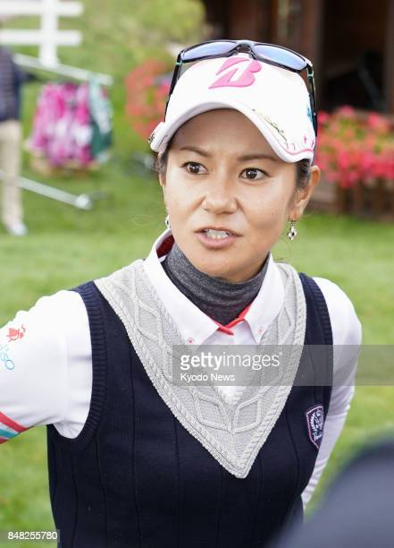 Japanese former world No 1 Ai Miyazato playing the final tournament of her career speaks to reporters after completing the second round of the Evian...