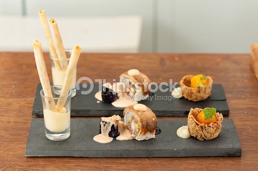 Japanese fusion food stock photo thinkstock for Japanese canape