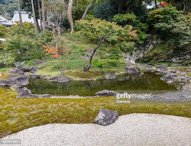 Japanese Garden at Engaku-ji Temple in Kamakura, Japan
