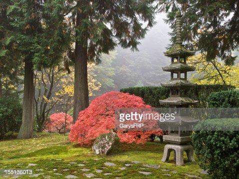 Japanese Garden Fall Colors Sapporo Pagoda Lantern Portland Oregon