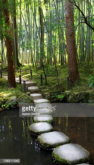 Japanese garden stone path over pond stock photo getty for Japanese garden path