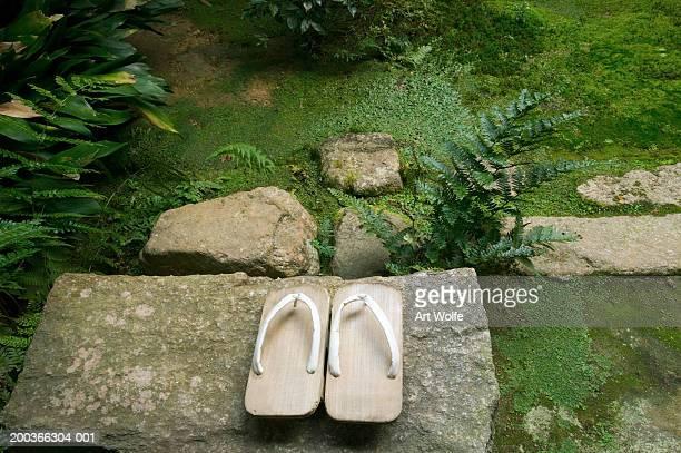 Japanese geta, or wooden slippers, outside an inn, Kyoto, Honshu, Japan