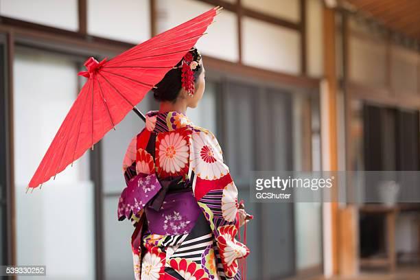 Japanese Girl in Kimono at Hyakumanben Chionji Temple, Kyoto, Japan