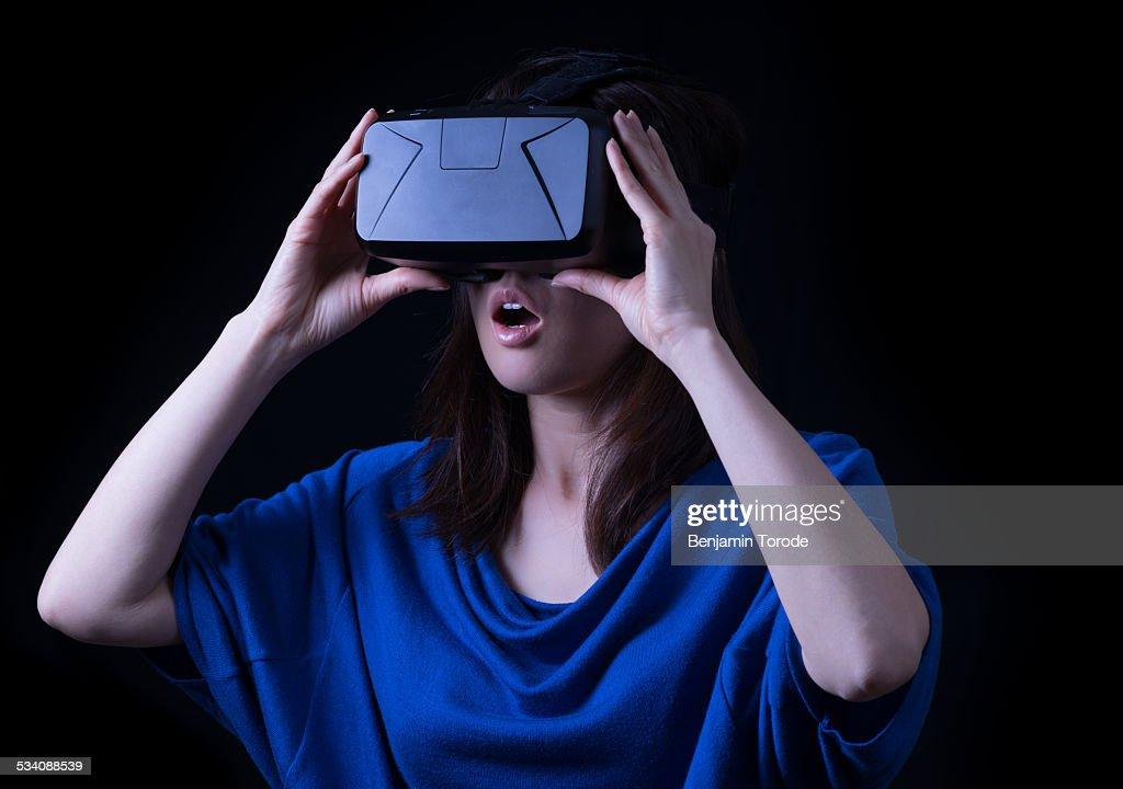 Japanese girl using VR HMD