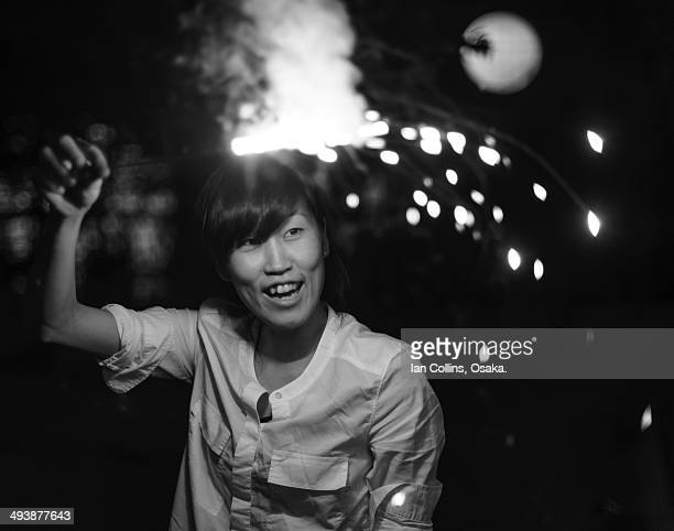 Japanese girl with fireworks.