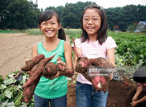 Japanese girls holding sweet potatoes