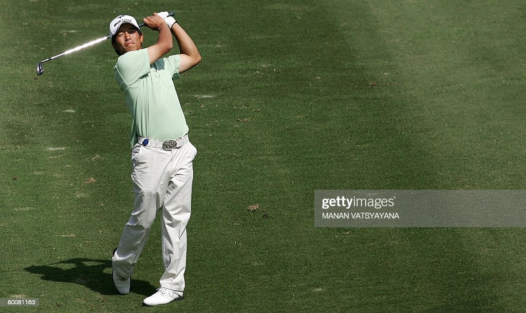 Japanese golfer Taichiro Kiyoto drives the ball on the seventh green during the final round of the Johnnie Walker Classic 2008 in Gurgaon on the...