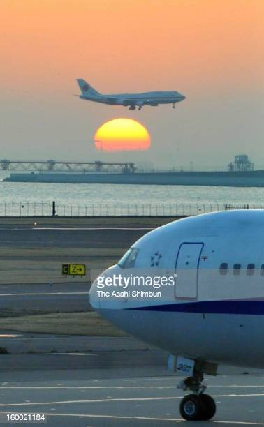 A Japanese government aircraft lands at Tokyo International Airport on January 25 2013 in Tokyo Japan The aircrafts carrys the seven survivors and...