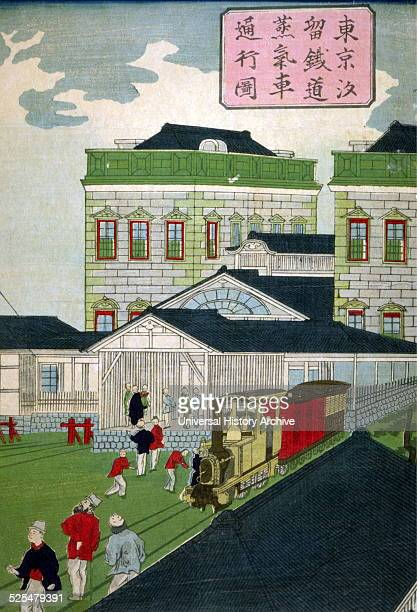 Japanese hand coloured woodcut Image shows the Shiodama trainstation in Tokyo The train is at the platform waiting for its passengers the passengers...