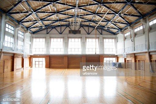 Japanese high school an empty school gymnasium basketball court