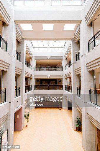 Japanese high school. Central atrium, entrance hall, contemporary architecture, Japan
