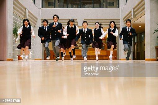 Japanese high school children, ten teenage children run, school hall
