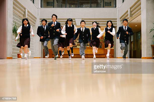 Japanese high school children, ten teenage children run, school hall