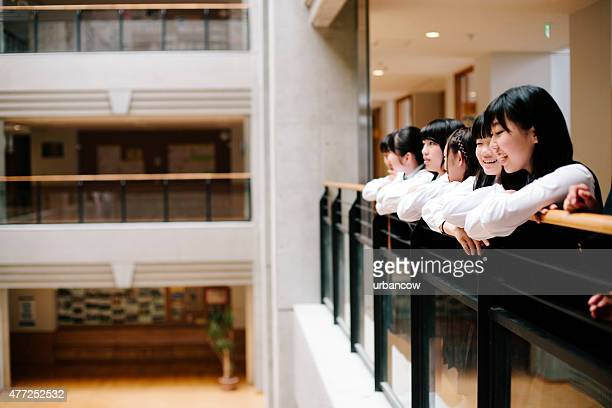 Japanese high school. Students, first floor overlooking the atrium