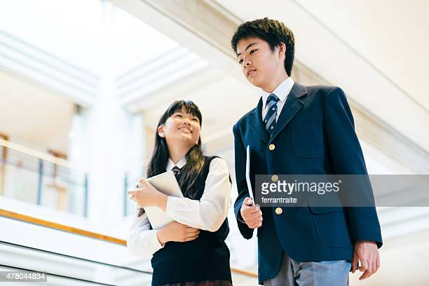 Japanese High School Students hanging out in between classes