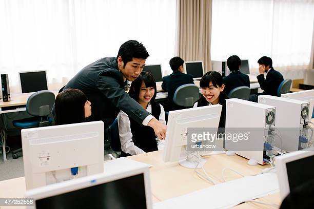 Japanese high school. Students study in the computer laboratory, Japan