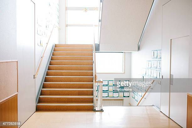 Japanese highschool. Staircase and corridor, contemporary architecture, Japan