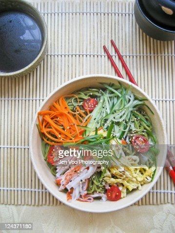 Japanese Hiyashi Chuka Cold Noodle Salad Stock Photo ...