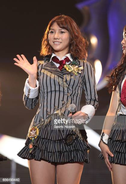 Japanese idol Aki Takajo of AKB 48 performs on the stage during 'LAWSON presents MUSIC FOR ALL ALL FOR ONE supported by SKY PerfecTV' on December 25...