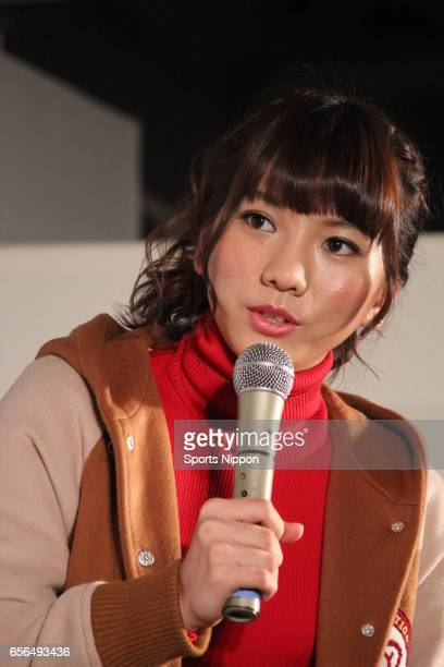 Japanese idol Aki Takajo of French Kiss attends the new song 'Saishonomail' promotional event on November 22 2011 in Tokyo Japan