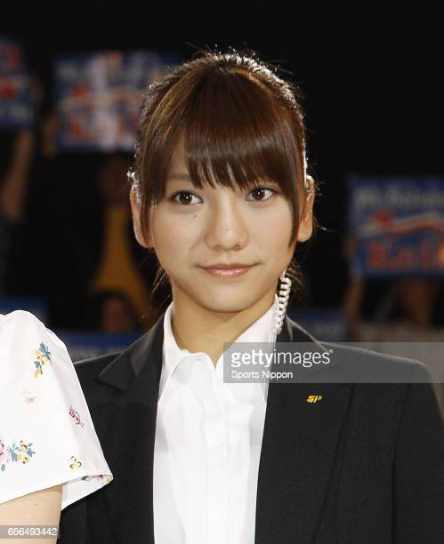 Japanese idol Aki Takajo of French Kiss attends the new song 'Romance Privacy' promotional event on June 1 2012 in Tokyo Japan