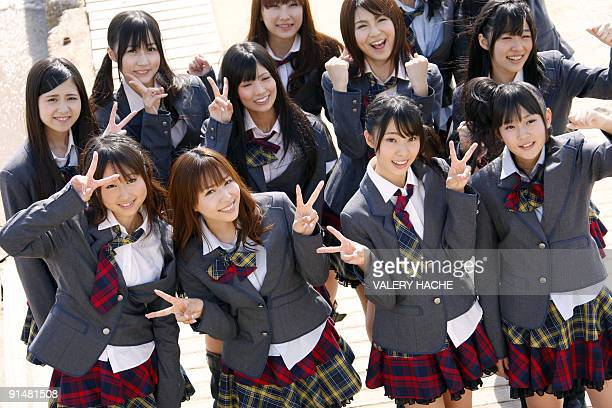 Japanese Idol Group AKB48 poseS during a photocall during a photocall at the 25th fourday MIPCOM on October 06 2009 in Cannes southern France Some...
