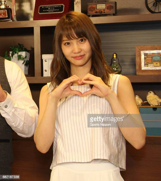 Japanese idol Mariya Nagao of AKB48 attends press conference of Tokyo MX program 'dounaru' on June 27 2015 in Tokyo Japan
