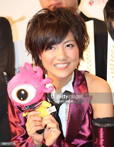 Japanese idol Sae Miyazawa of AKB 48/DiVA attends the Sina/FindJapan Press conference on June 29 2011 in Tokyo Japan