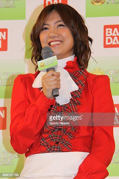 Japanese idol Sae Miyazawa of AKB48 attends promotional event of horse racing card game 'Owners Horse' on May 25 2012 in Tokyo Japan