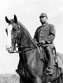 Japanese Imeprial Army commander in chief Hitoshi Imamura on a horseback on June 11 1942 in Jakarta Indonesia