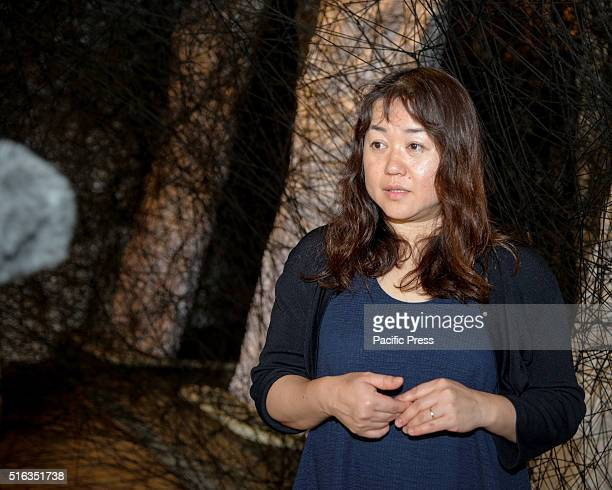 ISLAND SYDNEY NSW AUSTRALIA Japanese installation artist Chiharu Shiota poses with her works in the Convict Precinct during the media preview for...