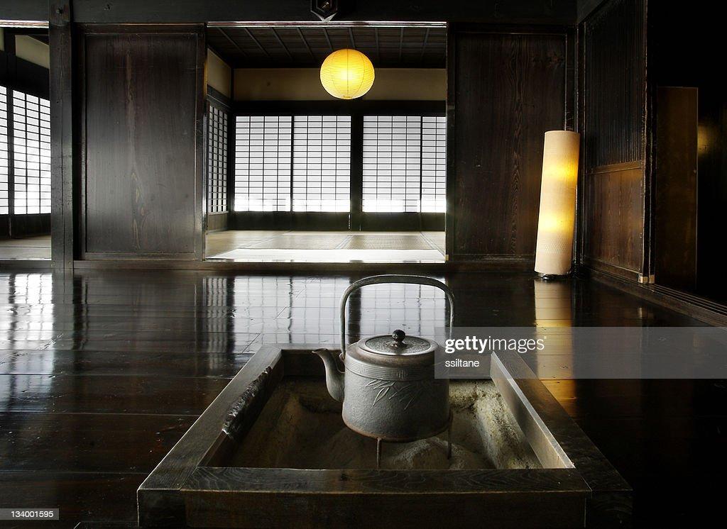 Japanese interior with teapot : Stock Photo