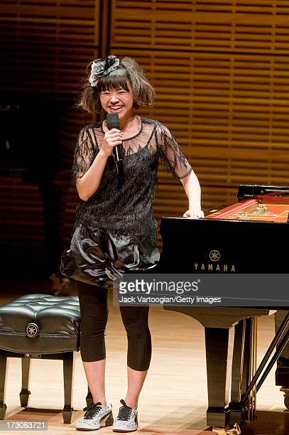 Japanese jazz musician Hiromi Uehara onstage during a solo piano concert as part of the 'Just Jazz The Joyce Wein Series' at Carnegie Hall's Zankel...