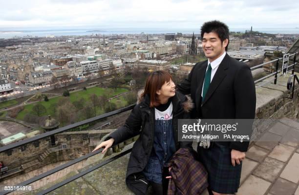 Japanese judo star Kosei Inoue with his wife Aki Higashihara during a visit to Edinburgh Castle Scotland