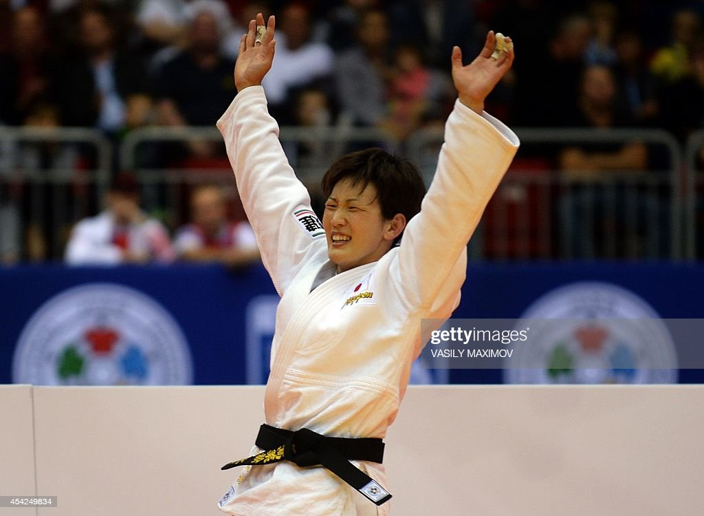Japanese judoka Nae Udaka reacts as she wins against Portuguese Telma Monteiro the under 57 kg category final at the IJF World Judo Championship in Chelyabinsk on August 27, 2014.