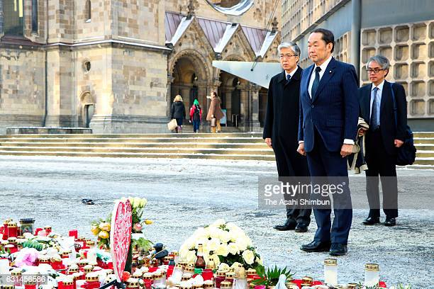 Japanese Justice Minister Katsutoshi Kaneda pays tribute for the victims of the December 19 terror attack at Breitscheidplatz on January 10 2017 in...