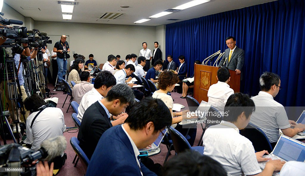 Japanese Justice Minister Sadakazu Tanigaki speaks during a press conference announcing the execution of Tokuhisa Kumagai on September 12, 2013 in Tokyo, Japan. The period between the finalization of his sentence and execution was less than half of the average span of the past 10 years. Since the Liberal Democratic Party regained the reins of government last December, the average span has shrunk.