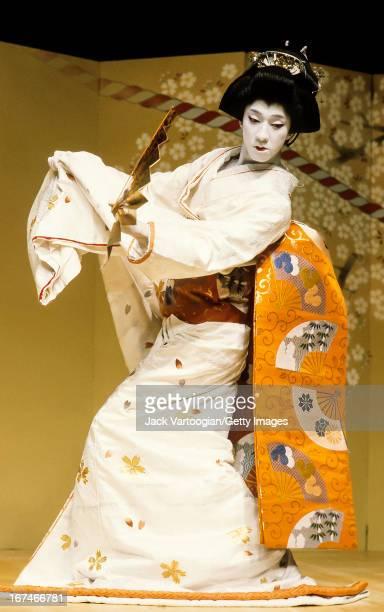 Japanese Kabuki actor Bando Tamasaburo V in an 'onnagata' role during his solo performance of 'Kanegamisaki' at the Japan Society New York New York...
