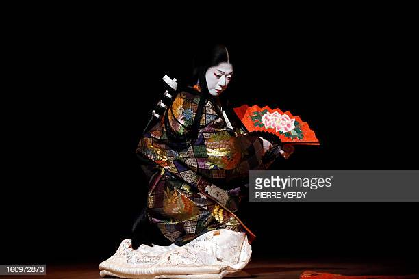 Japanese Kabuki actor Tamasaburo Bando is seen during a dress rehearsal for 'Jiuta' at the Chatelet Theatre in Paris on February 4 2013 Tamasaburo is...
