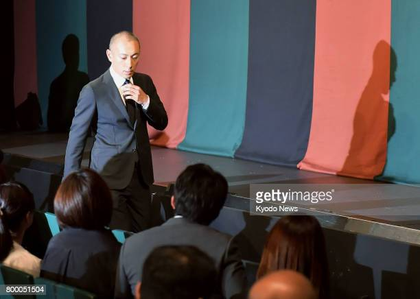 Japanese kabuki star Ichikawa Ebizo attends a press conference in Tokyo on June 23 after his wife Mao Kobayashi a 34yearold Japanese TV personality...