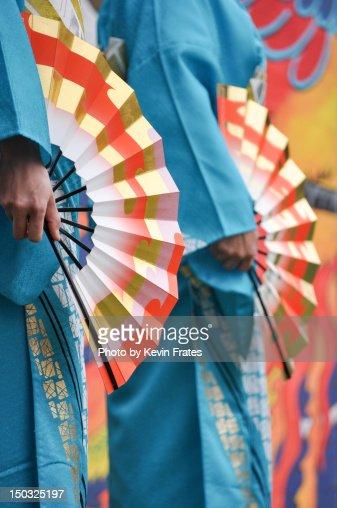 Japanese kimono and fans : Stock Photo
