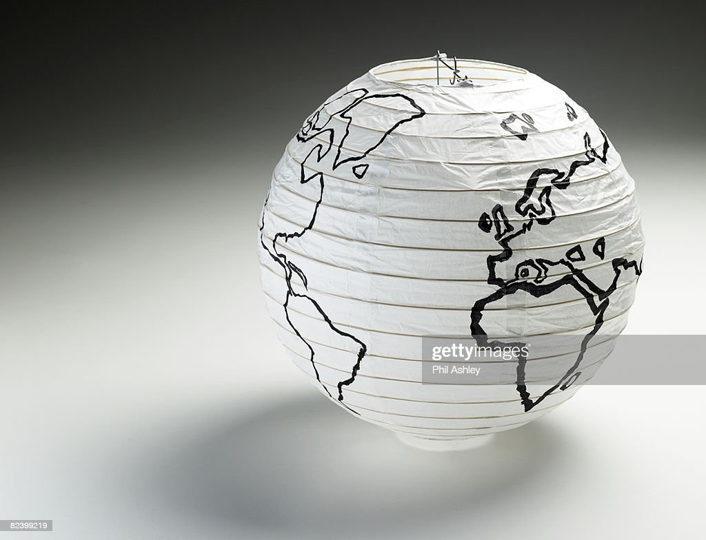 japanese lamp with illustration of the globe : Stock Photo
