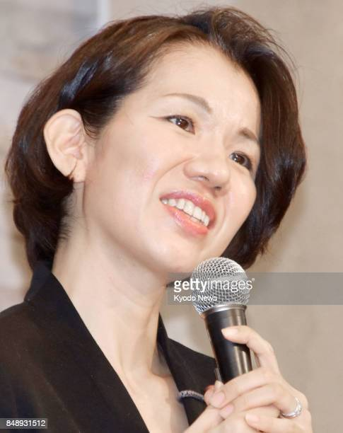 Japanese lawmaker Mayuko Toyota speaks at a press conference in her electoral constituency in Saitama Prefecture near Tokyo on Sept 18 following a...