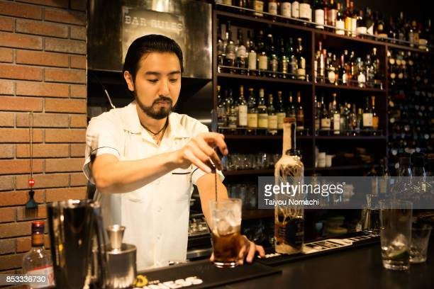 Japanese male bartender
